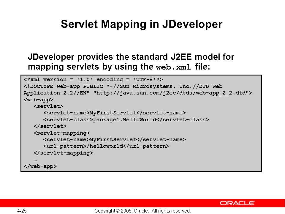 4-25 Copyright © 2005, Oracle. All rights reserved. Servlet Mapping in JDeveloper JDeveloper provides the standard J2EE model for mapping servlets by
