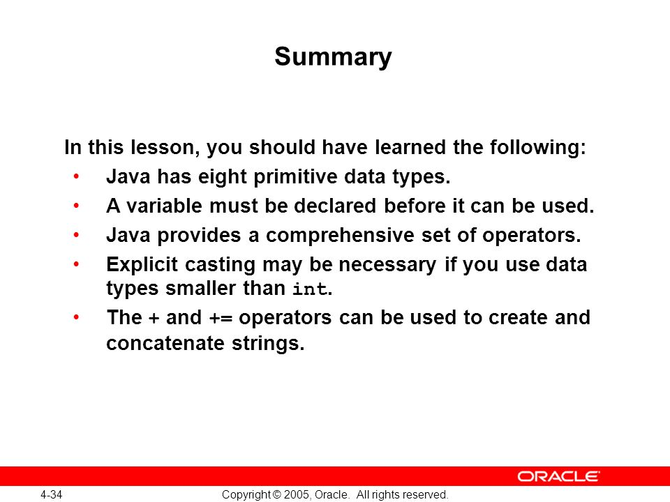 4-34 Copyright © 2005, Oracle. All rights reserved.