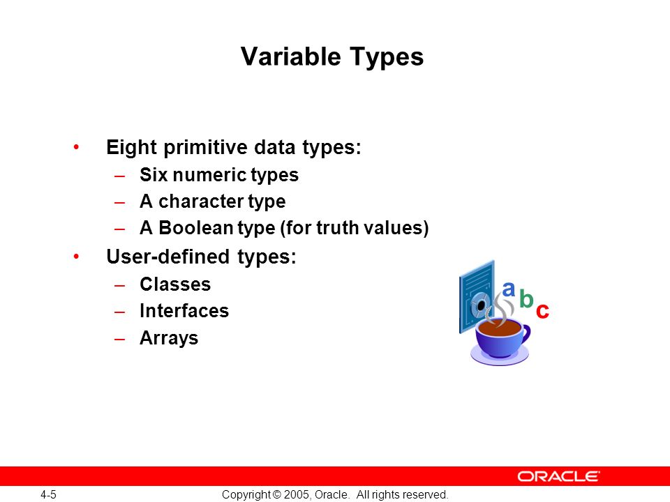 4-5 Copyright © 2005, Oracle. All rights reserved. Variable Types Eight primitive data types: –Six numeric types –A character type –A Boolean type (fo