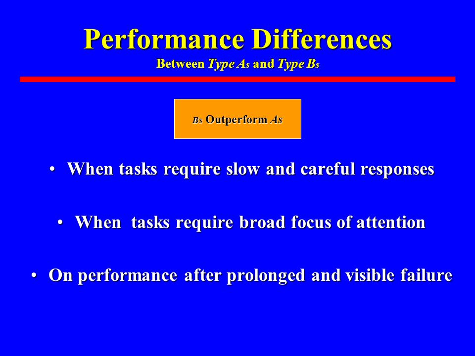 Performance Differences Between Type A s and Type B s When tasks require slow and careful responsesWhen tasks require slow and careful responses When tasks require broad focus of attentionWhen tasks require broad focus of attention On performance after prolonged and visible failureOn performance after prolonged and visible failure Bs Outperform As