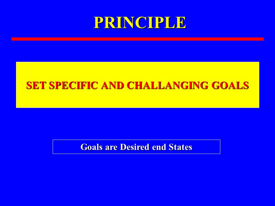PRINCIPLE SET SPECIFIC AND CHALLANGING GOALS Goals are Desired end States
