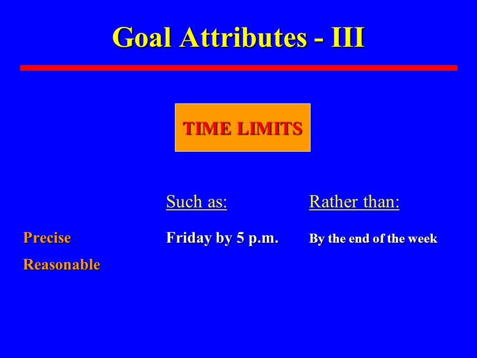 Goal Attributes - III Such as:Rather than: Precise Friday by 5 p.m. By the end of the week Reasonable TIME LIMITS