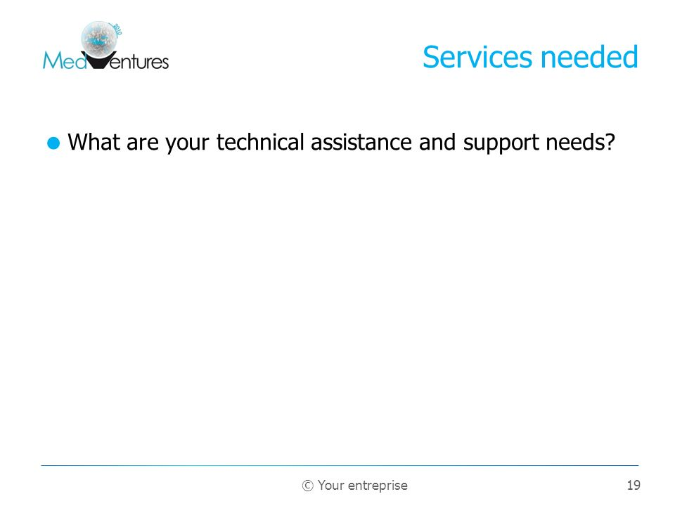 19 What are your technical assistance and support needs? Services needed © Your entreprise