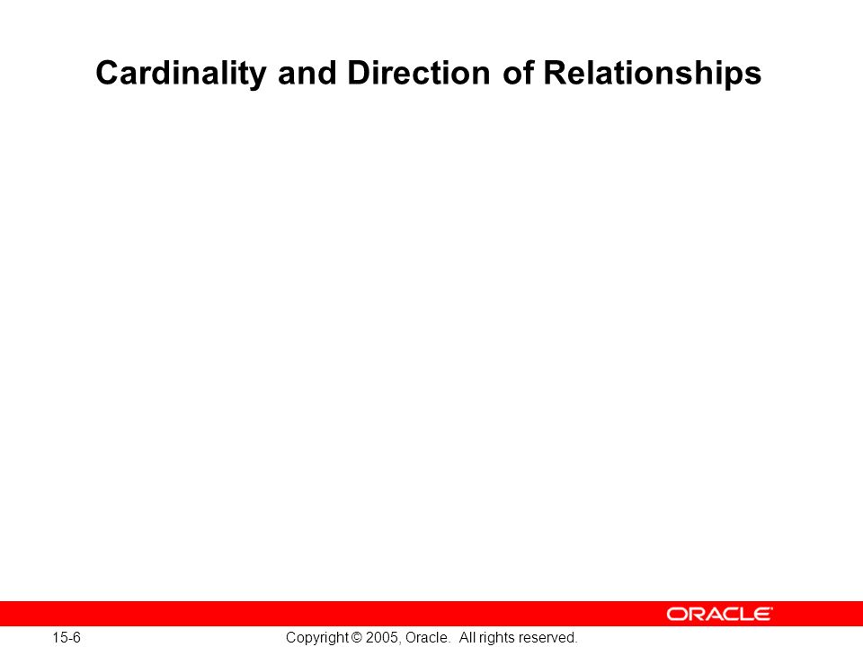 15-6 Copyright © 2005, Oracle. All rights reserved. Cardinality and Direction of Relationships