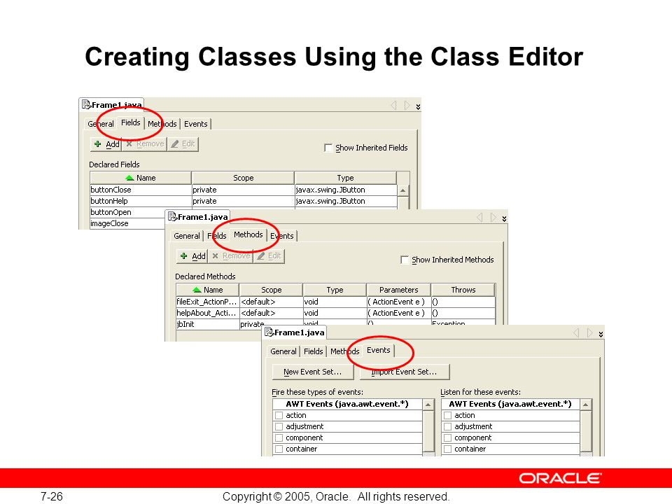 7-26 Copyright © 2005, Oracle. All rights reserved. Creating Classes Using the Class Editor