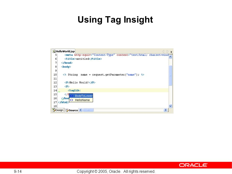 9-14 Copyright © 2005, Oracle. All rights reserved. Using Tag Insight