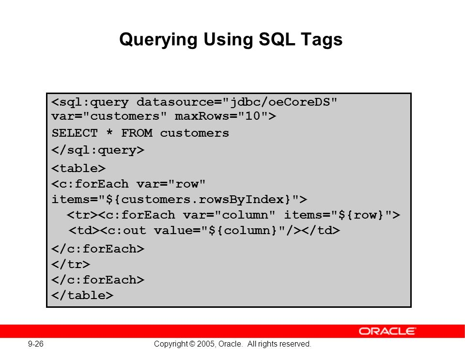 9-26 Copyright © 2005, Oracle. All rights reserved. Querying Using SQL Tags SELECT * FROM customers