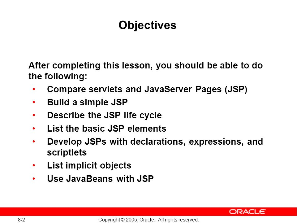 8-3 Copyright © 2005, Oracle.All rights reserved.
