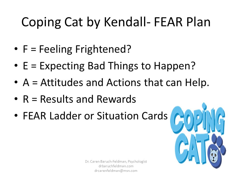 Coping Cat by Kendall- FEAR Plan F = Feeling Frightened? E = Expecting Bad Things to Happen? A = Attitudes and Actions that can Help. R = Results and