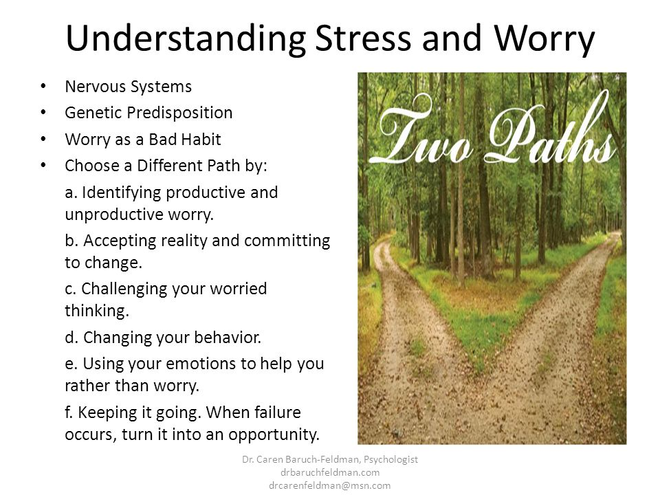 Understanding Stress and Worry Nervous Systems Genetic Predisposition Worry as a Bad Habit Choose a Different Path by: a. Identifying productive and u