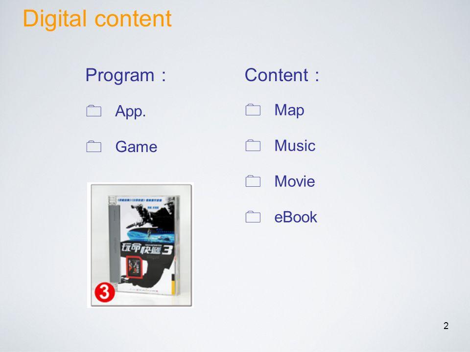 2 App. Game Map Music Movie eBook Program Content Digital content