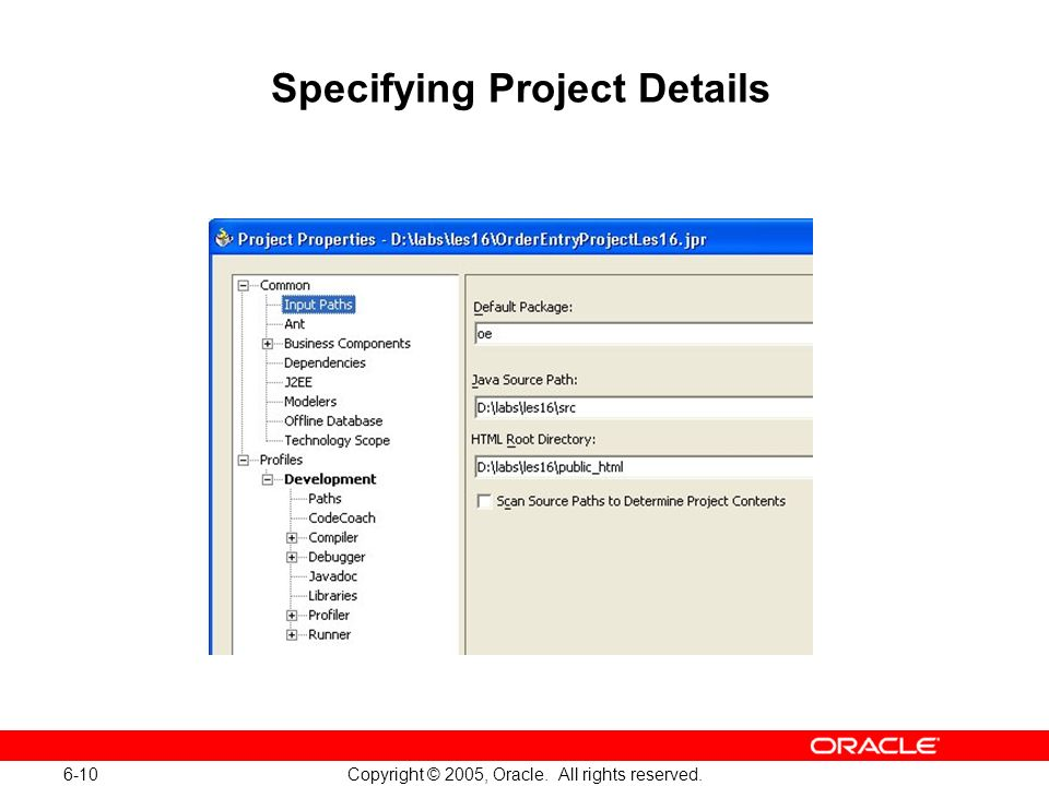 6-10 Copyright © 2005, Oracle. All rights reserved. Specifying Project Details