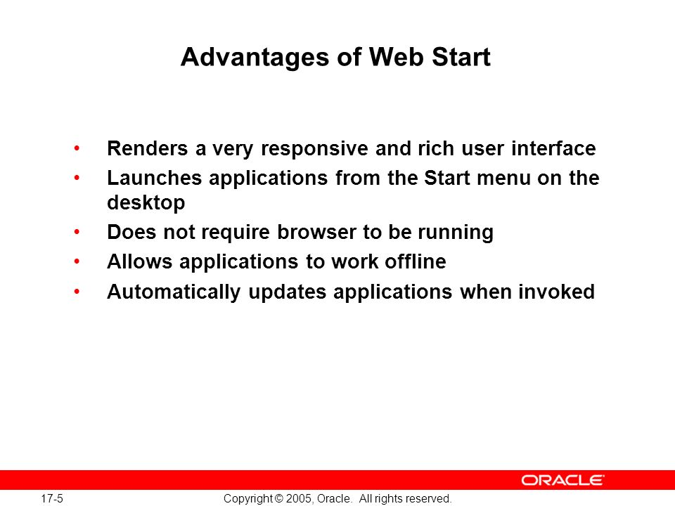 17-16 Copyright © 2005, Oracle.All rights reserved.