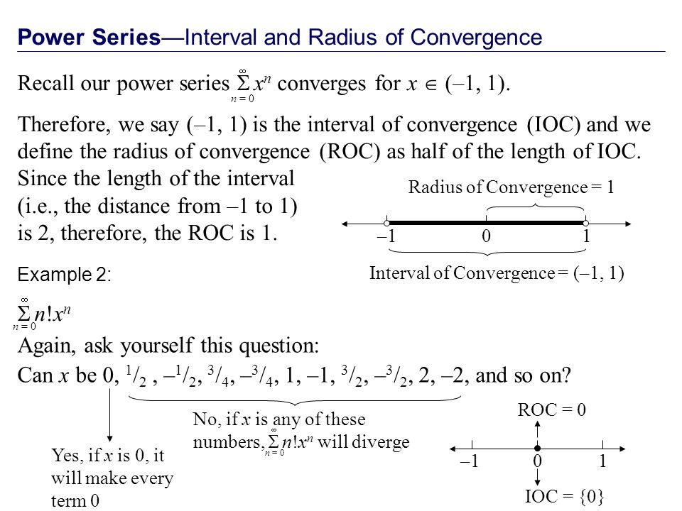 Power SeriesInterval and Radius of Convergence Recall our power series x n converges for x (–1, 1).