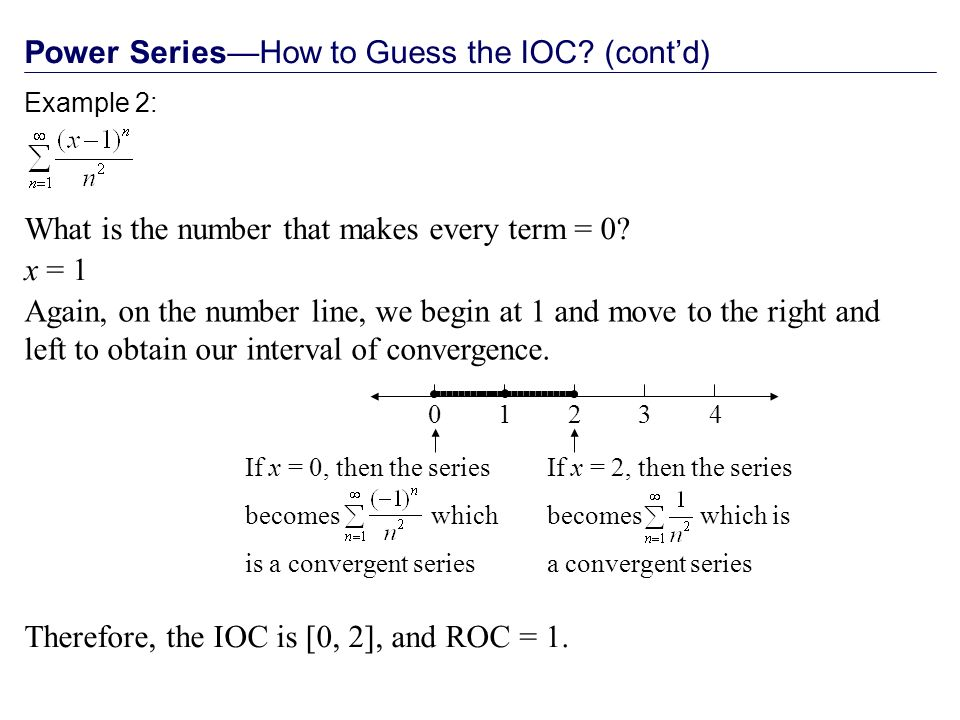 Power SeriesHow to Guess the IOC.(contd) What is the number that makes every term = 0.