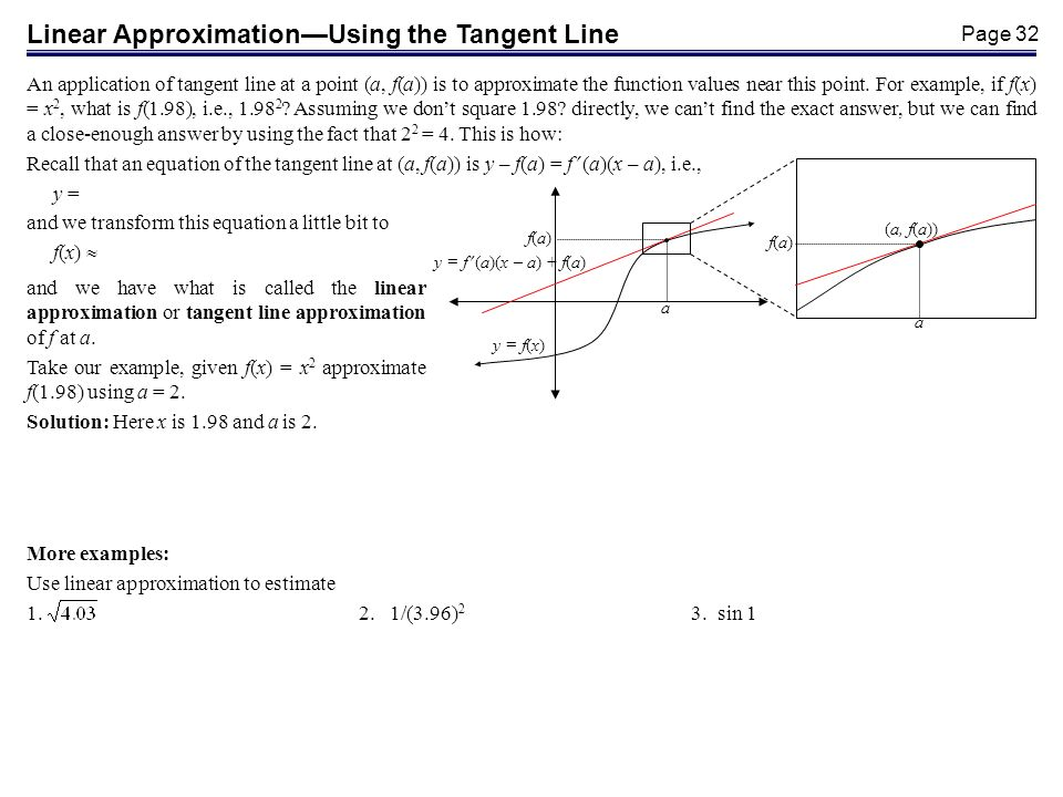Page 32 Linear ApproximationUsing the Tangent Line An application of tangent line at a point (a, f(a)) is to approximate the function values near this point.