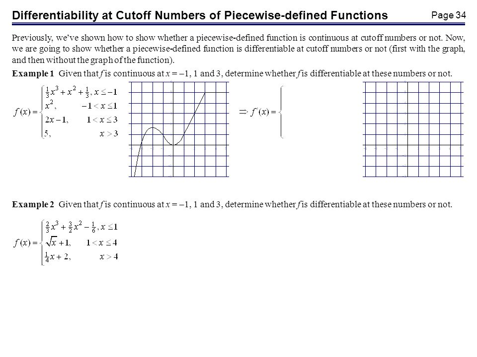 Page 34 Differentiability at Cutoff Numbers of Piecewise-defined Functions Previously, weve shown how to show whether a piecewise-defined function is continuous at cutoff numbers or not.