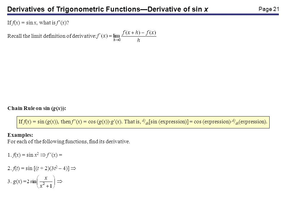 Page 21 Derivatives of Trigonometric FunctionsDerivative of sin x If f(x) = sin x, what is f (x).