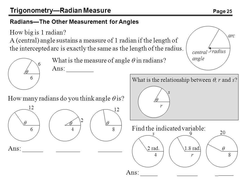 TrigonometryRadian Measure RadiansThe Other Measurement for Angles How big is 1 radian? A (central) angle sustains a measure of 1 radian if the length
