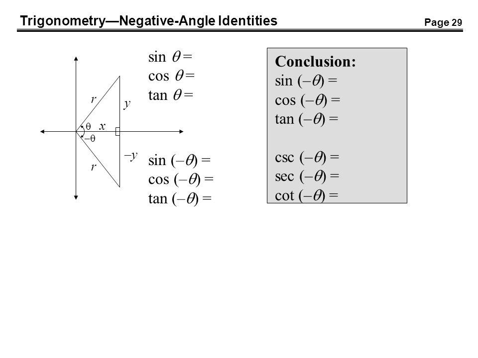 TrigonometryNegative-Angle Identities – sin (– ) = cos (– ) = tan (– ) = sin = cos = tan = x y r Conclusion: sin (– ) = cos (– ) = tan (– ) = csc (– )