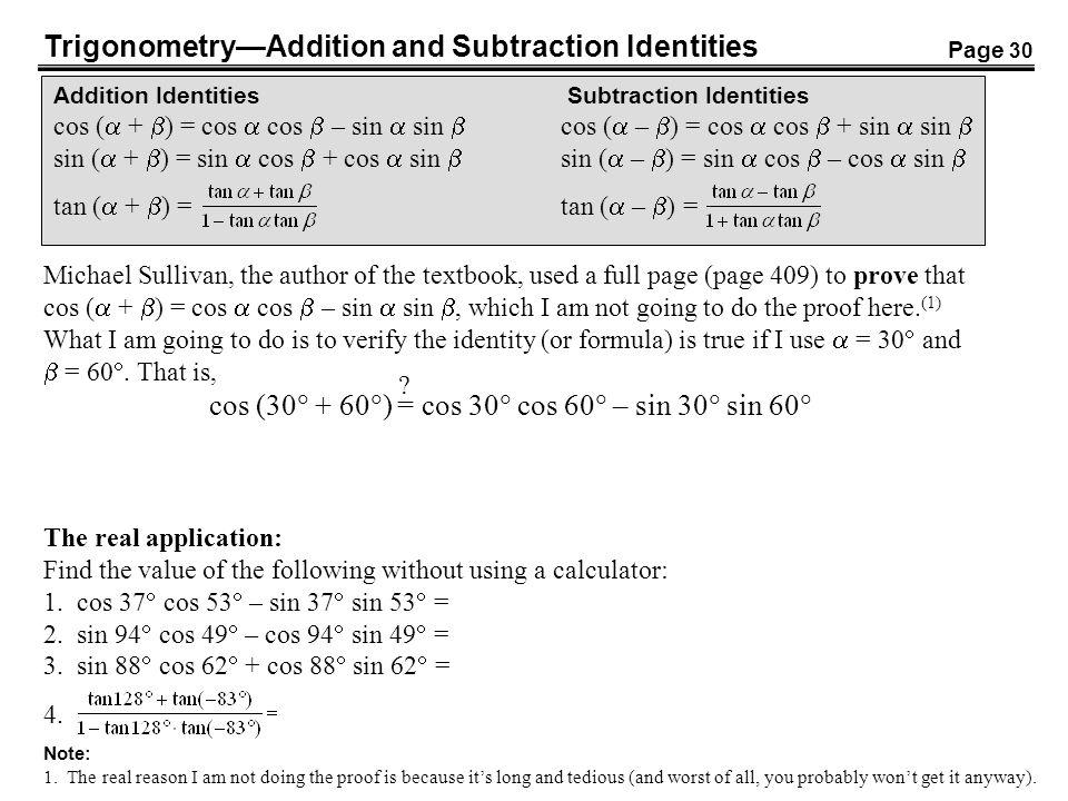 TrigonometryAddition and Subtraction Identities Addition Identities Subtraction Identities cos ( + ) = cos cos – sin sin cos ( – ) = cos cos + sin sin