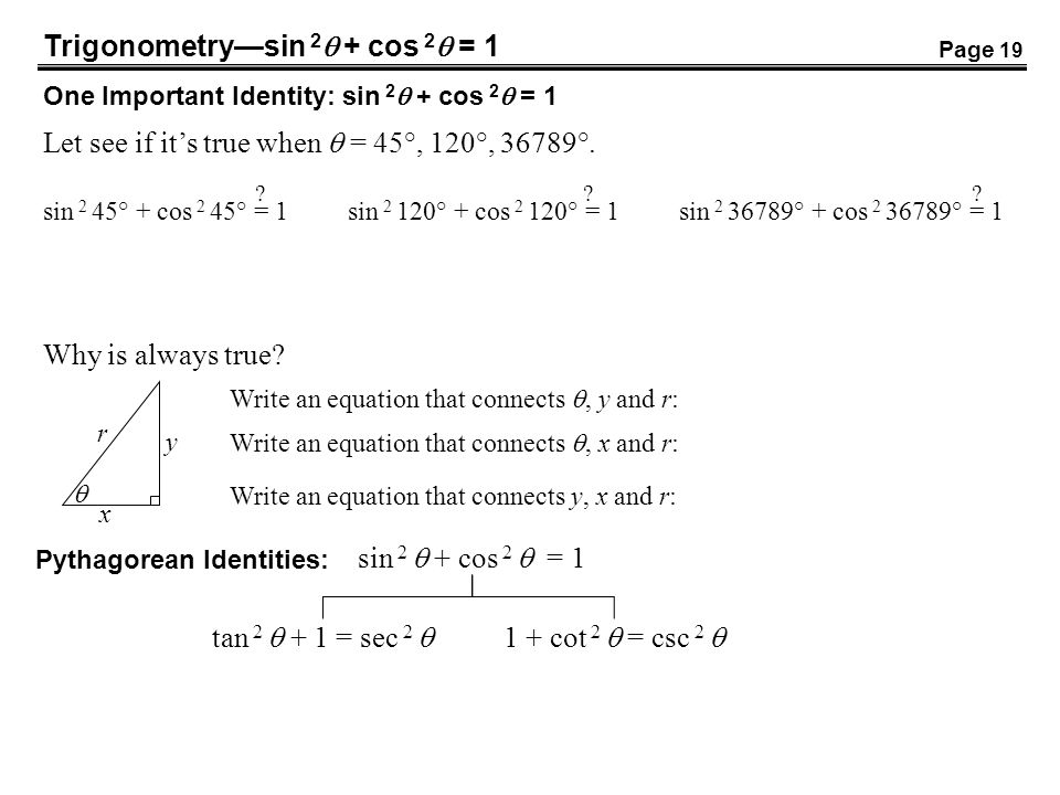 Trigonometrysin 2 + cos 2 = 1 One Important Identity: sin 2 + cos 2 = 1 Let see if its true when = 45°, 120°, 36789°. sin 2 45° + cos 2 45° = 1sin 2 1