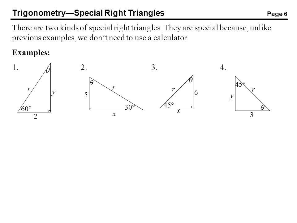 Trigonometry Special Right Triangles Special Right Triangles
