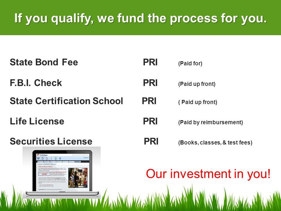 Securities License PRI (Books, classes, & test fees) State Bond Fee PRI (Paid for) Life License PRI (Paid by reimbursement) State Certification School