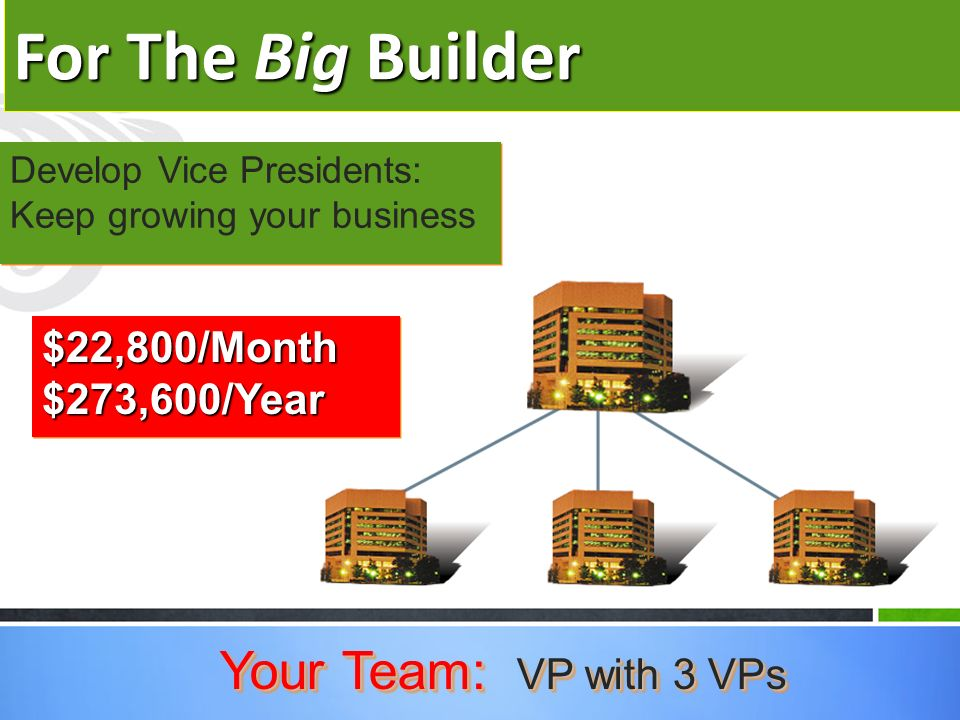 For The Big Builder Develop Vice Presidents: Keep growing your business Your Team: VP with 3 VPs $22,800/Month $273,600/Year