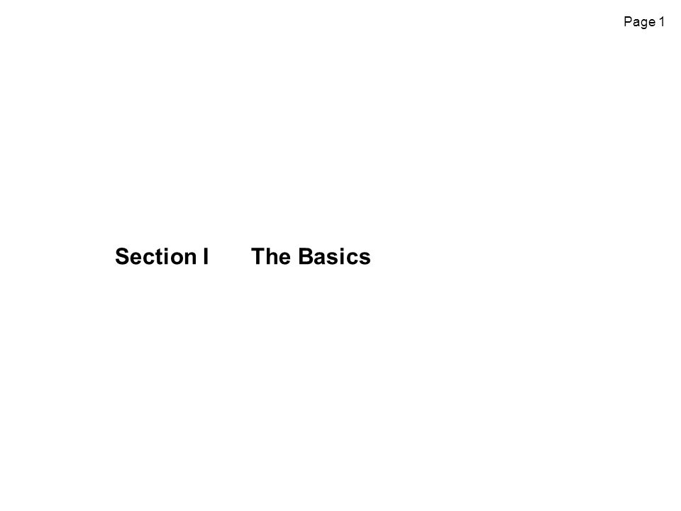 Page 1 Section IThe Basics
