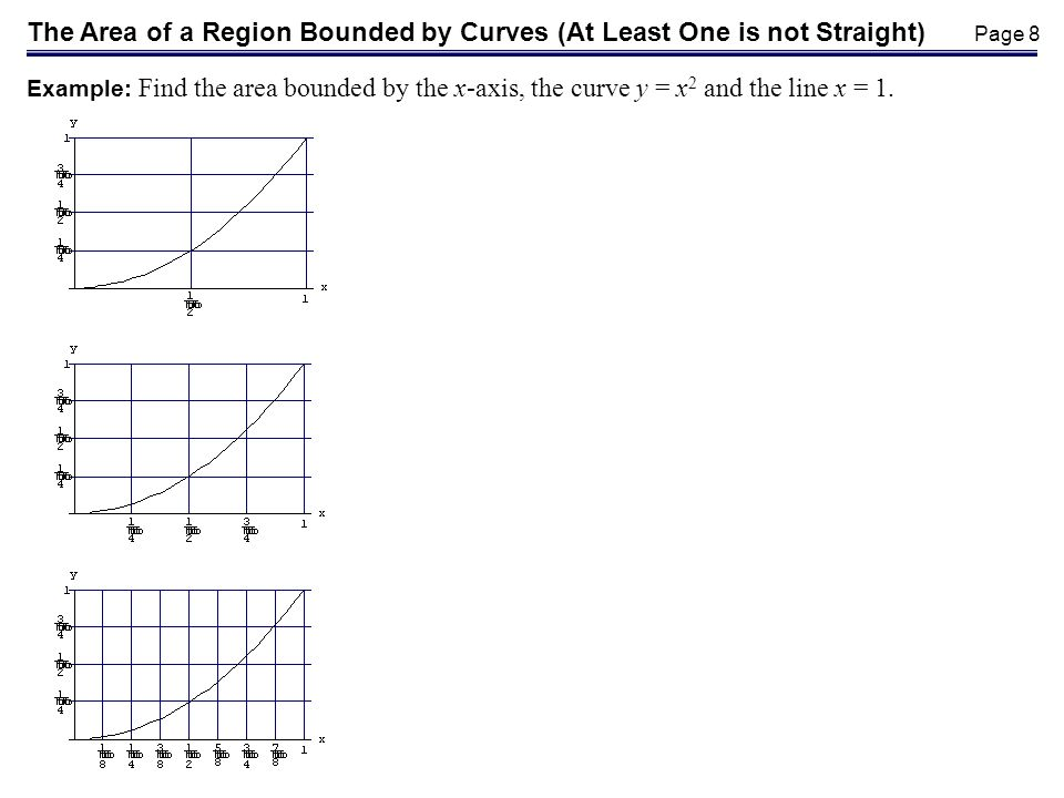 Page 8 The Area of a Region Bounded by Curves (At Least One is not Straight) Example: Find the area bounded by the x-axis, the curve y = x 2 and the line x = 1.