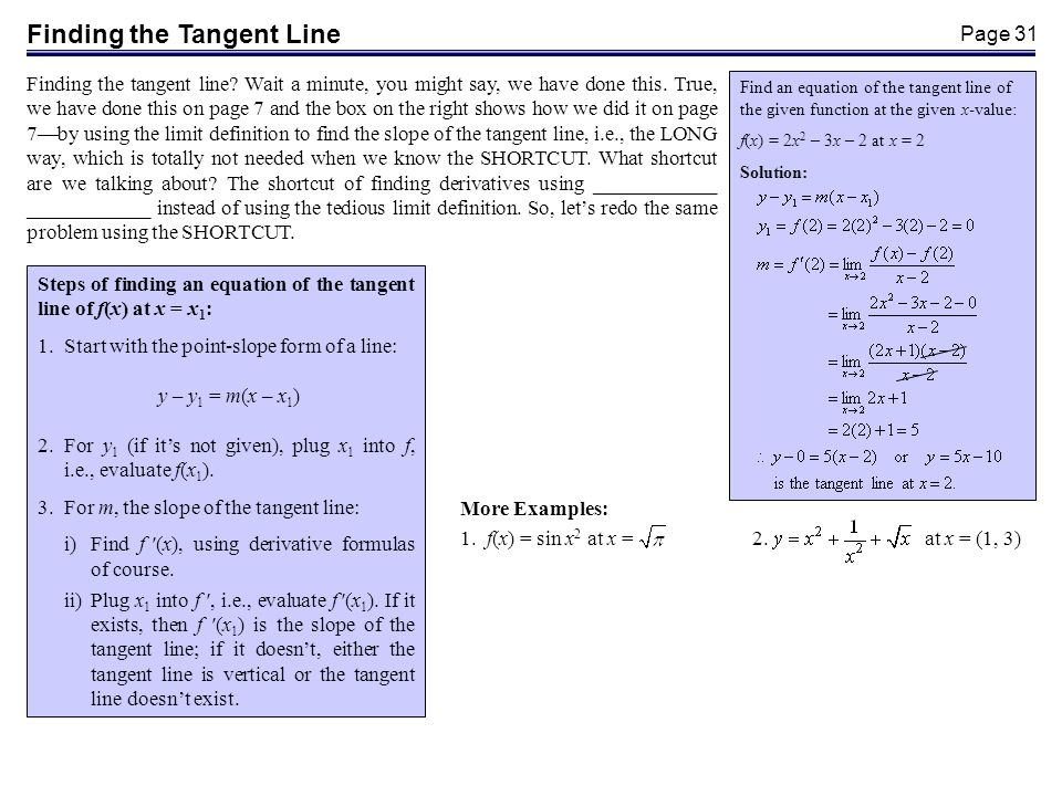 Page 31 Finding the Tangent Line Finding the tangent line? Wait a minute, you might say, we have done this. True, we have done this on page 7 and the