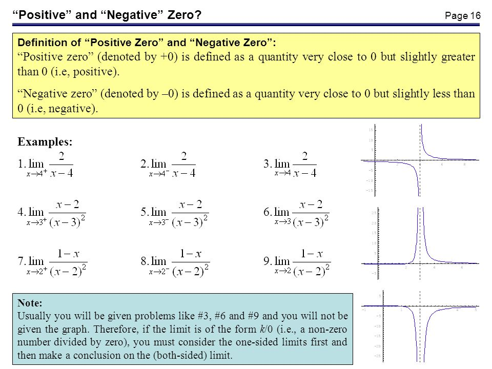 Page 16 Positive and Negative Zero? Examples: 1.2.3. Definition of Positive Zero and Negative Zero: Positive zero (denoted by +0) is defined as a quan