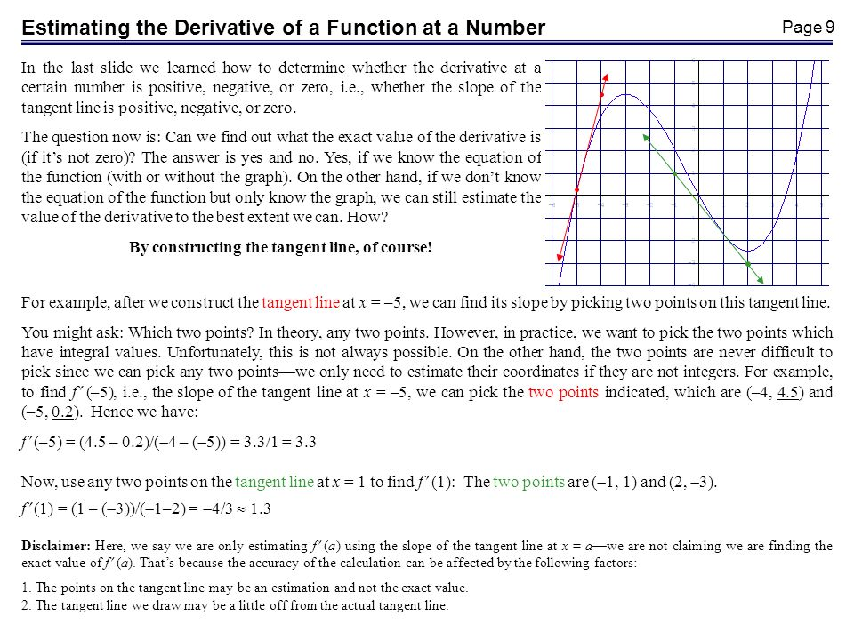 Page 10 The derivative of a function is also itself a function (as we will see later).