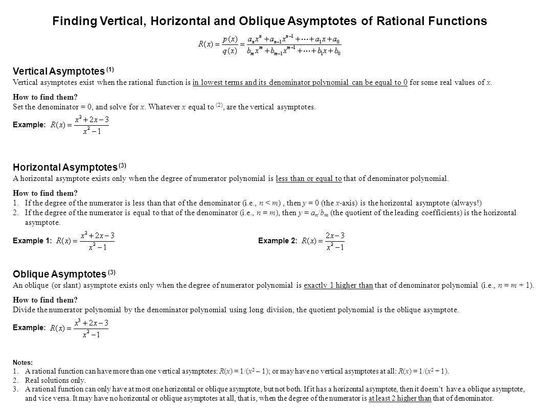 Vertical Asymptotes (1) Vertical asymptotes exist when the rational function is in lowest terms and its denominator polynomial can be equal to 0 for s