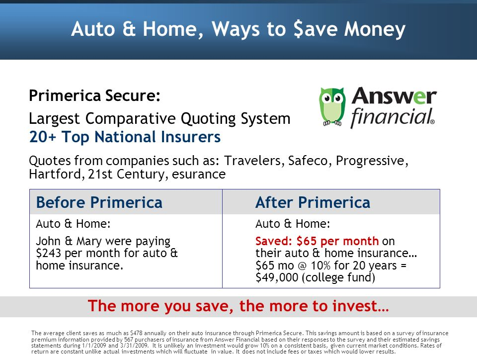 Auto & Home, Ways to $ave Money Primerica Secure: Largest Comparative Quoting System 20+ Top National Insurers Quotes from companies such as: Traveler