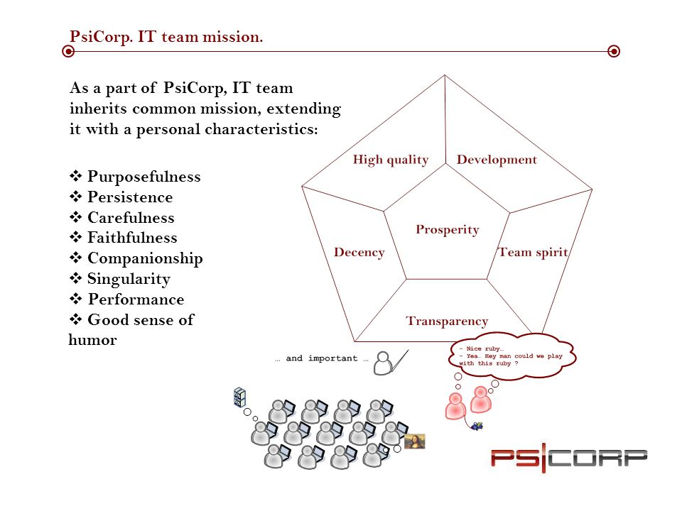 PsiCorp. IT team mission.