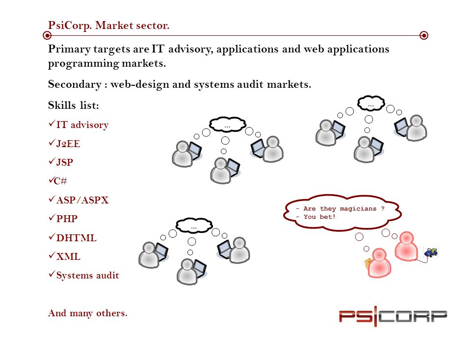 PsiCorp. Market sector.