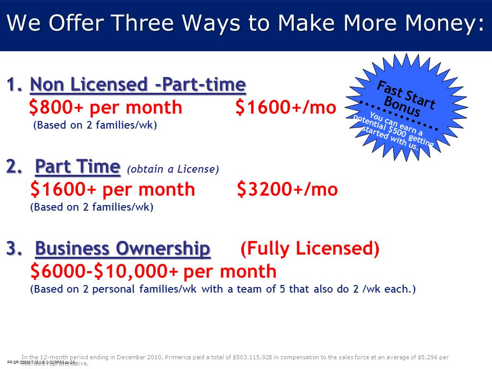 PP/SR/33638/7.06/V6.0/02PFS344-28 We Offer Three Ways to Make More Money: 1.Non Licensed -Part-time $800+ per month $1600+/mo (Based on 2 families/wk)