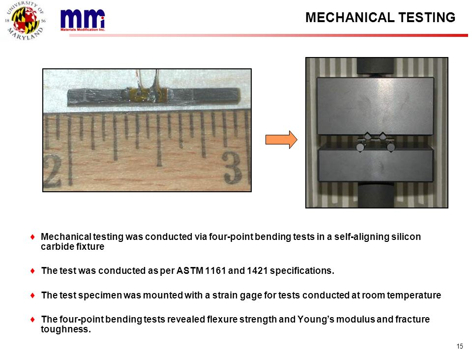 15 MECHANICAL TESTING Mechanical testing was conducted via four-point bending tests in a self-aligning silicon carbide fixture The test was conducted