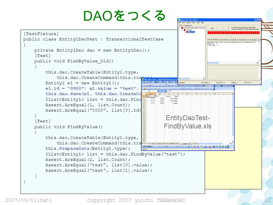 2007/09/01(Sat)Copyright 2007 yuichi TAKAHASHI12 public class Entity1Dao : SajoriDaoTemplate { public IList FindByValue(String value, IDbCommand command) { IList list = new List (); String soql = from Entity1 t; this.FindObjects(soql, command, list); return list; } [TestFixture] public class Entity1DaoTest : TransactionalTestCase { private Entity1Dao dao = new Entity1Dao(); [Test] public void FindByValue() { this.dao.CreateTable(Entity1.type, this.dao.CreateCommand(this.tran)); Entity1 e1 = new Entity1(); e1.id = 0000; e1.value = test; this.dao.Save(e1, this.dao.CreateCommand(this.tran)); IList list = this.dao.FindByValue(test); Assert.AreEqual(1, list.Count); Assert.AreEqual(0000, list[0].Id); } DAO [TestFixture] public class Entity1DaoTest : TransactionalTestCase { private Entity1Dao dao = new Entity1Dao(); [Test] public void FindByValue_Old() { this.dao.CreateTable(Entity1.type, this.dao.CreateCommand(this.tran)); Entity1 e1 = new Entity1(); e1.id = 0000; e1.value = test; this.dao.Save(e1, this.dao.CreateCommand(this.tran)); IList list = this.dao.FindByValue(test); Assert.AreEqual(1, list.Count); Assert.AreEqual(0000, list[0].Id); } [Test] public void FindByValue() { this.dao.CreateTable(Entity1.type, this.dao.CreateCommand(this.tran)); this.PrepareData(Entity1.type); IList list = this.dao.FindByValue(test); Assert.AreEqual(2, list.Count); Assert.AreEqual(test, list[0].value); Assert.AreEqual(test, list[1].value); } EntityDaoTest- FindByValue.xls