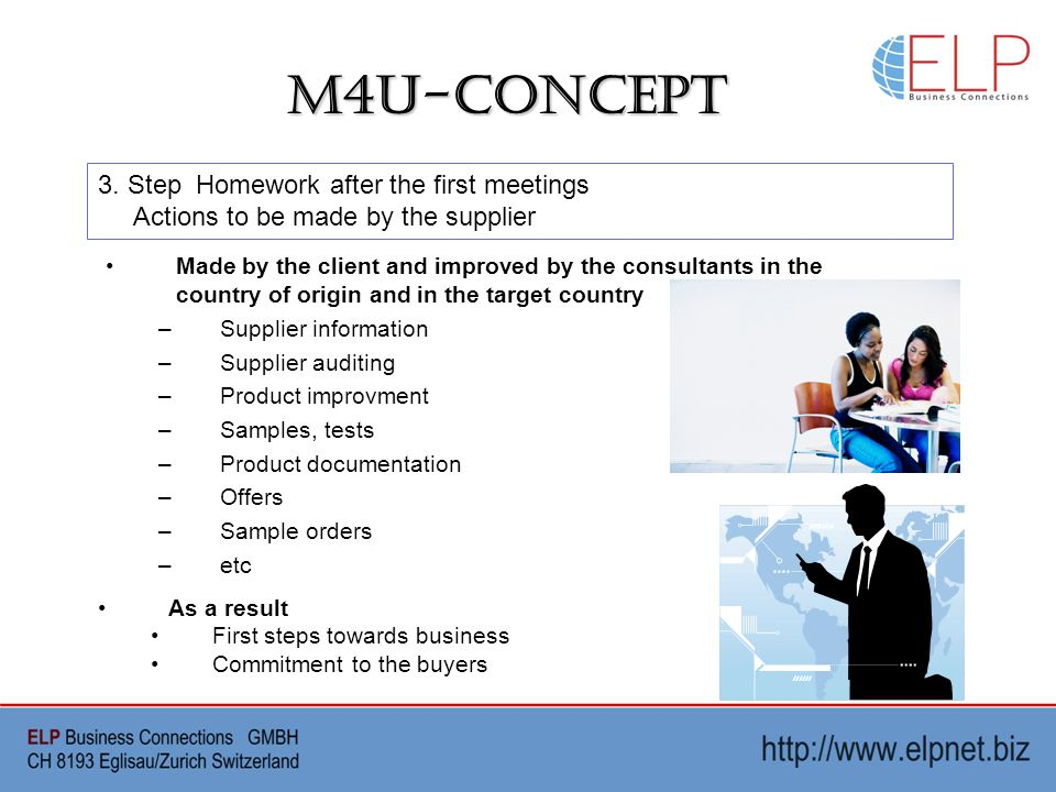 M4U-Concept Made by the client and improved by the consultants in the country of origin and in the target country –Supplier information –Supplier auditing –Product improvment –Samples, tests –Product documentation –Offers –Sample orders –etc 3.
