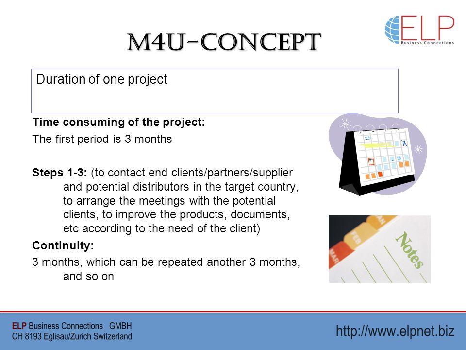M4U-Concept Time consuming of the project: The first period is 3 months Steps 1-3: (to contact end clients/partners/supplier and potential distributors in the target country, to arrange the meetings with the potential clients, to improve the products, documents, etc according to the need of the client) Continuity: 3 months, which can be repeated another 3 months, and so on Duration of one project