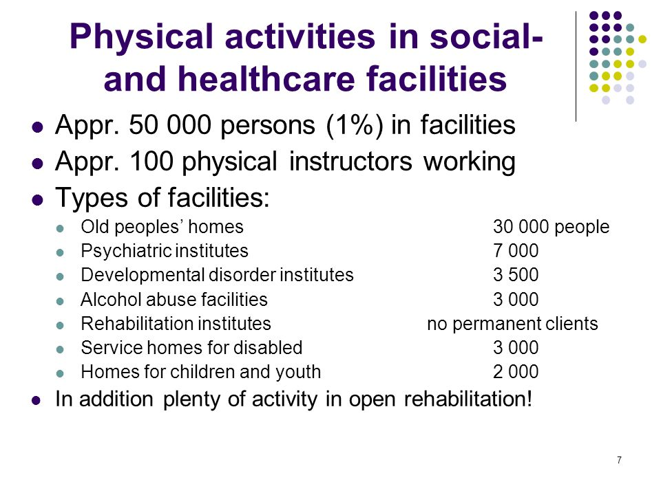 7 Physical activities in social- and healthcare facilities Appr.
