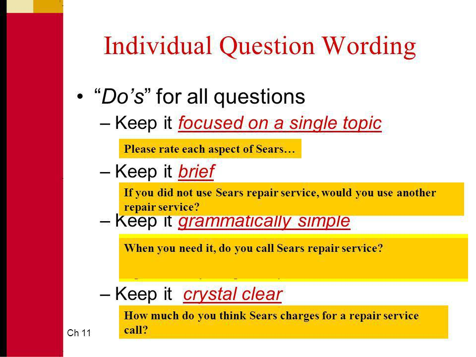 Ch 1117 Individual Question Wording Dos for all questions –Keep it focused on a single topic –Keep it brief –Keep it grammatically simple –Keep it cry