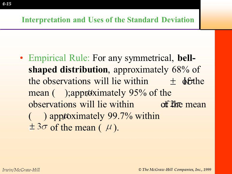 Irwin/McGraw-Hill © The McGraw-Hill Companies, Inc., 1999 Interpretation and Uses of the Standard Deviation Empirical Rule: For any symmetrical, bell-
