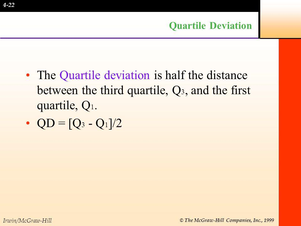 Irwin/McGraw-Hill © The McGraw-Hill Companies, Inc., 1999 Quartile Deviation The Quartile deviation is half the distance between the third quartile, Q