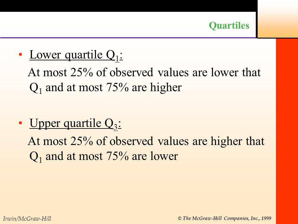 Irwin/McGraw-Hill © The McGraw-Hill Companies, Inc., 1999 Quartiles Lower quartile Q 1 : At most 25% of observed values are lower that Q 1 and at most