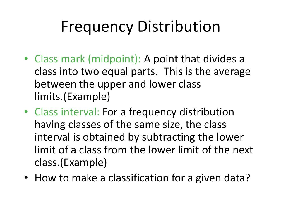 Graphic Presentation of a Frequency Distribution A frequency polygon consists of line segments connecting the points formed by the class midpoint and the class frequency.