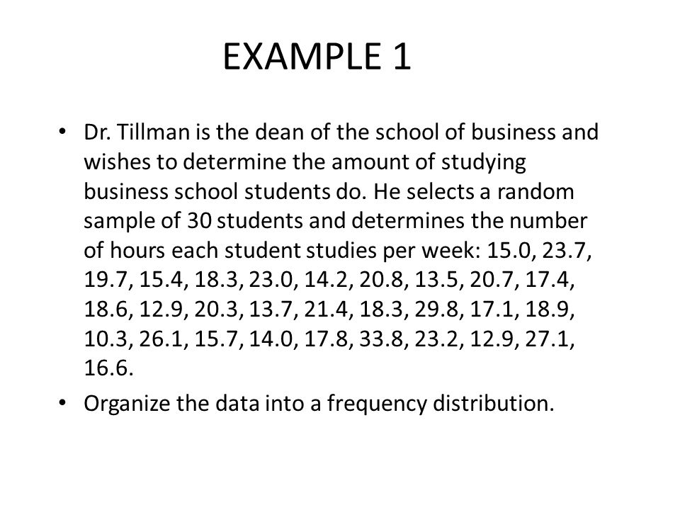 Histogram for Hours Spent Studying 2-14 Notice that there is no gap between bars!!